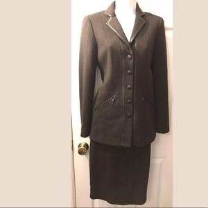 New WORTH Brown Wool Leather Skirt Blazer Suit